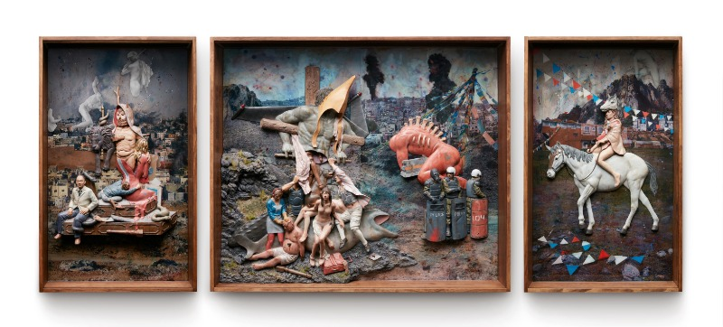 matador I,II,III(triptych),120x280x20(cm),acrylic on resin on aluminium,wooden box,2015.jpg